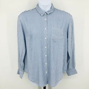 Blue Striped Button Front Long Sleeve Shirt Large